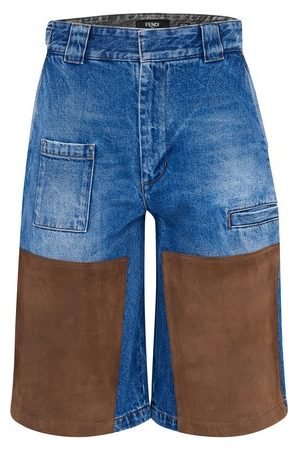 Fendi Men Shorts - Denim and suede shorts