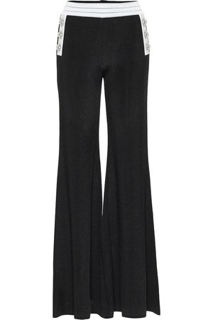 Balmain Women Wide Leg Pants - High-rise flared knit pants