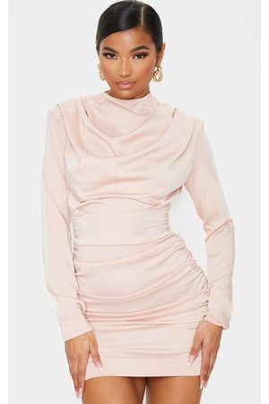 PRETTYLITTLETHING Nude Ruched Detail Long Sleeve Bodycon Dress