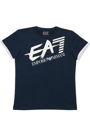 EA7 Logo Print Cotton Jersey T-shirt
