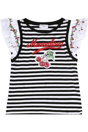 MONNALISA Girls T-shirts - Striped stretch-cotton T-shirt