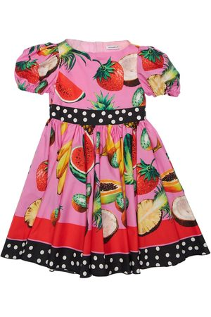 Dolce & Gabbana Fruit Printed Cotton Poplin Dress