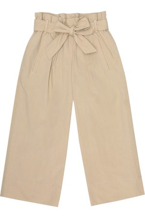 Brunello Cucinelli Girls Wide Leg Pants - Cotton-poplin pants