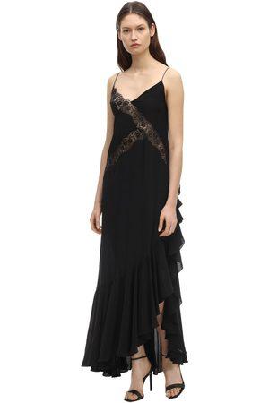 FAITH CONNEXION Long Satin Dress W/ Lace