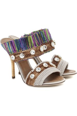 Dolce & Gabbana Crystal-embellished raffia sandals