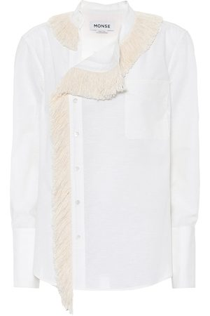 MONSE Fringe-collar cotton and linen shirt