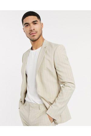 ASOS Skinny suit jacket in stone pinstripe