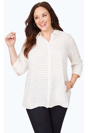 Foxcroft Women Tunics - Carlene Plus Easy-Care Stripe Linen Tunic