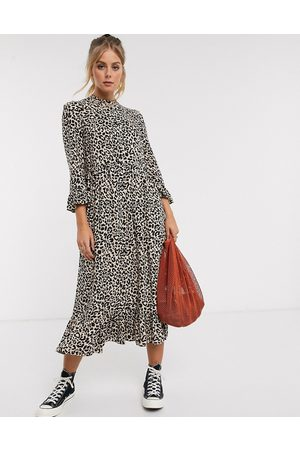 ASOS Button through tiered smock maxi dress in leopard print-Multi