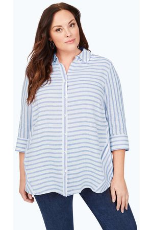 Foxcroft Women Tunics - Carlene Plus Easy-Care Stripe Linen Tunic
