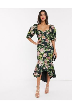 ASOS Puff sleeve milkmaid dress in romantic floral print-Multi