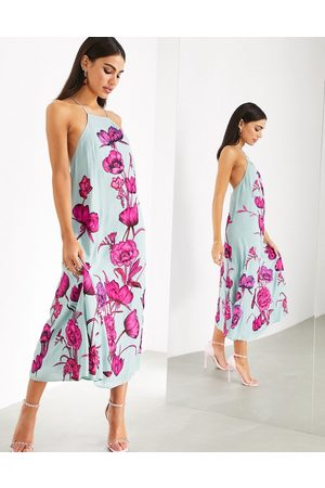 ASOS Maxi trapeze dress with oversized floral embroidery