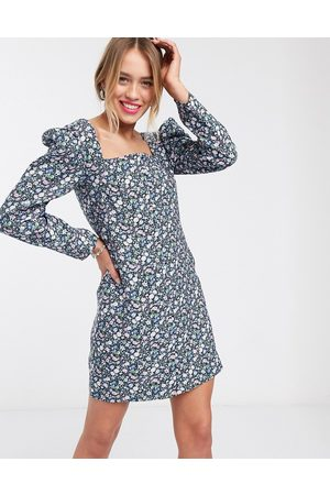 & OTHER STORIES & bold floral puff sleeve mini dress in multi