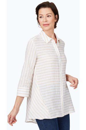 Foxcroft Women Tunics - Carlene Easy-Care Stripe Linen Tunic