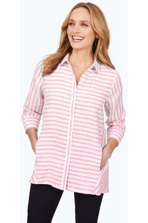 Foxcroft Women Tunics - Carlene Easy-Care Stripe Linen Tunic