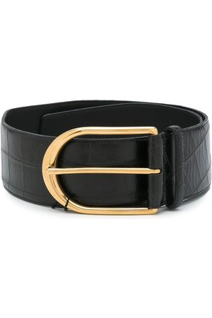 Saint Laurent Crocodile-embossed buckle belt