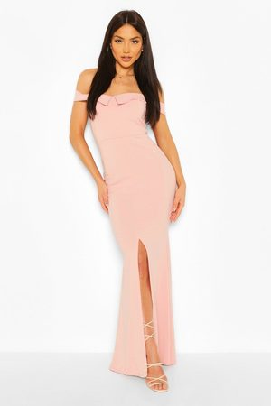 Boohoo Womens Bardot Split Front Maxi Dress - - 4