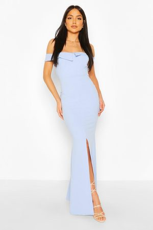 Boohoo Women Strapless Dresses - Womens Off The Shoulder Split Front Maxi Dress - - 4