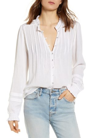Faherty Women's Willa Button Front Peasant Blouse