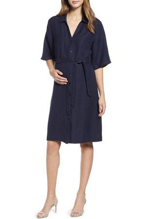 Angel Maternity Women's Belted Linen Blend Maternity Shirtdress