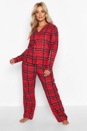 Boohoo Womens Plus Brushed Flannel Long Sleeve Pj Trouser Set - - 12