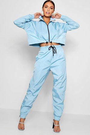 Boohoo Womens High Waist Shell Suit Track Pant - - 4