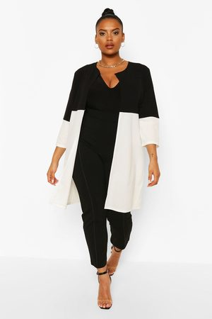 Boohoo Womens Plus Colour Block 3 Quarter Sleeve Duster - - 12