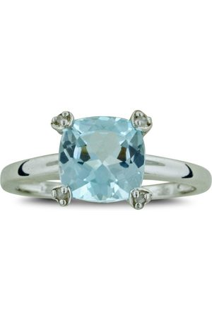 SuperJeweler 2.5 Carat Cushion Cut Topaz & Diamond Ring in Sterling Silver