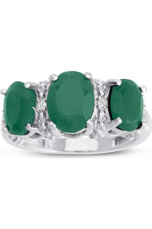 SuperJeweler Women Rings - 3 2/3 Carat Three Stone Oval Shape Emerald Cut & Diamond Ring Crafted in Solid Sterling Silver