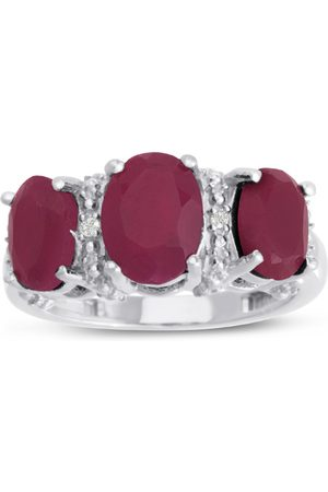 SuperJeweler 3 2/3 Carat Three Stone Oval Shape Ruby & Diamond Ring Crafted in Solid Sterling Silver