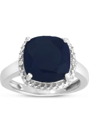 SuperJeweler 5 3/4 Carat Cushion Cut Sapphire & Halo Diamond Ring Crafted in Solid Sterling Silver