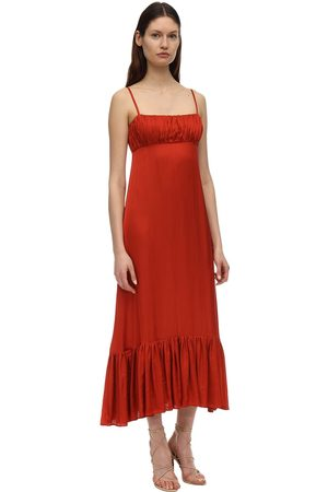 LESYANEBO Draped And Ruffled Satin Long Dress