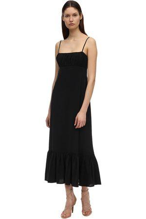 LESYANEBO Ruffled Viscose Blend Long Dress