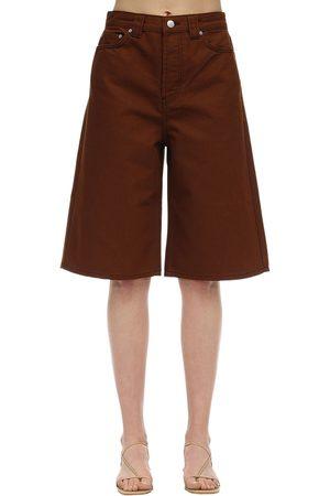 Ganni Cotton Denim Bermuda Shorts