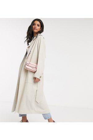 ASOS ASOS DESIGN Tall luxe oversized linen trench coat in cream