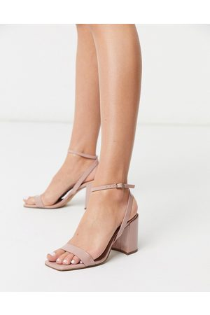 ASOS Havana barely there block heeled sandals in patent-Neutral