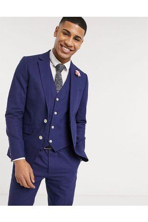 Gianni Feraud Suits - Wedding linen slim fit suit jacket-Navy