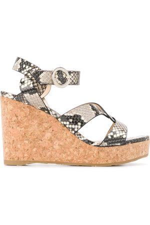 Jimmy Choo Aleili 100mm wedge sandals - Neutrals