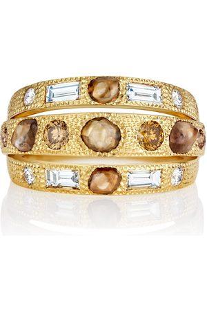 De Beers Jewellers Women Rings - 18kt yellow Talisman three-line diamond ring - Metallic