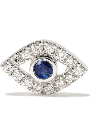 Sydney Evan 14kt Evil Eye sapphire and diamond stud earring