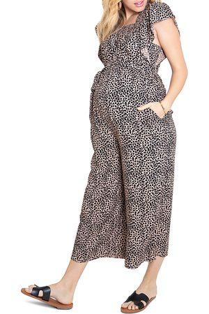 Ingrid & Isabel Women Jumpsuits - Flutter-Sleeve Maternity Jumpsuit