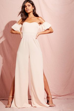Boohoo Womens Off The Shoulder Gathered Sleeve Wide Leg Jumpsuit - - 4