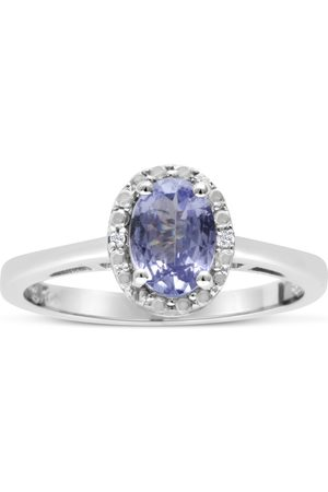 SuperJeweler 3/4 Carat Oval Shape Tanzanite & Halo Diamond Ring Crafted in Solid Sterling Silver