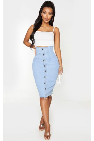 PRETTYLITTLETHING Shape Light Button Front Seam Detail Denim Midi Skirt