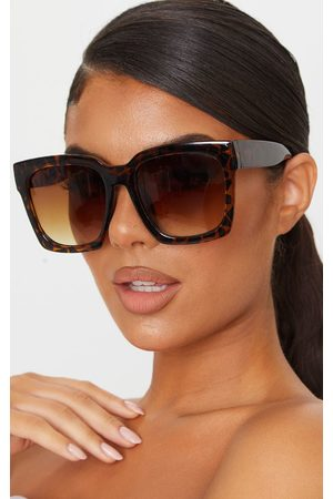 PRETTYLITTLETHING Tortoise Oversized Square Sunglasses