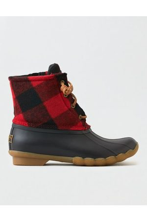 American Eagle Outfitters Sperry Saltwater Plaid Rain Boot Women's 6