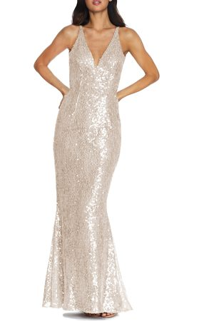Dress The Population Women's Sharon Lace Sequin Plunge Neck Mermaid Gown
