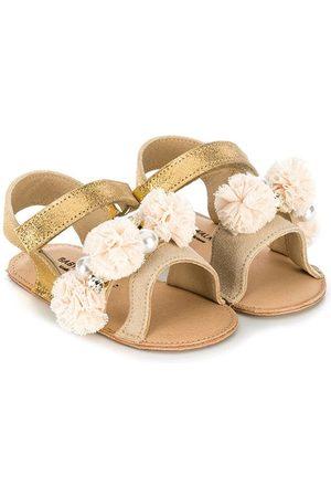 Babywalker Flat Shoes - Pompom-embellished flat sandals