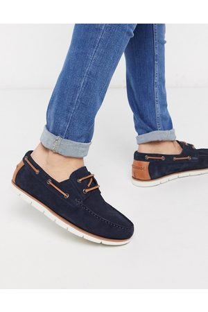 ASOS Boat shoes in navy suede with white sole