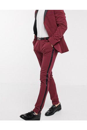 ASOS Men Skinny Pants - Super skinny tuxedo suit pants in burgundy